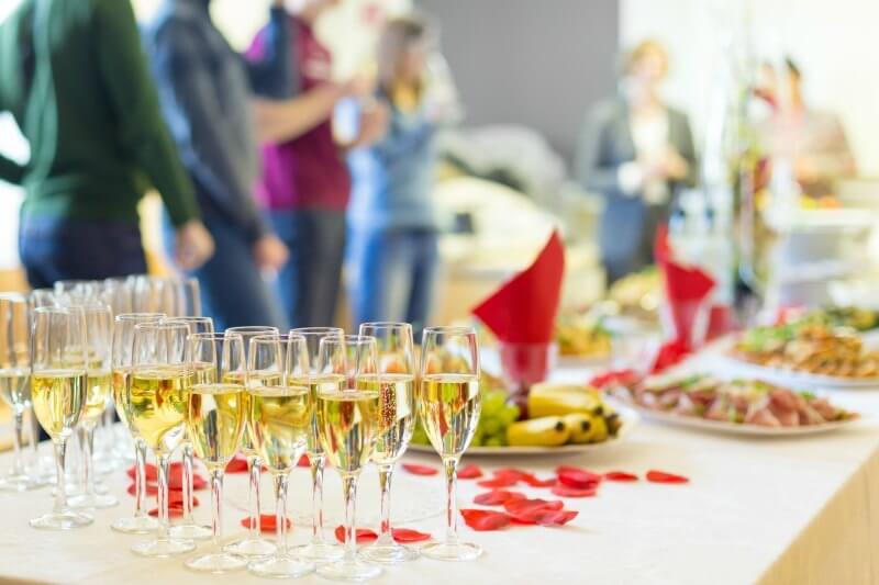 IMG: champagne glasses on gala table