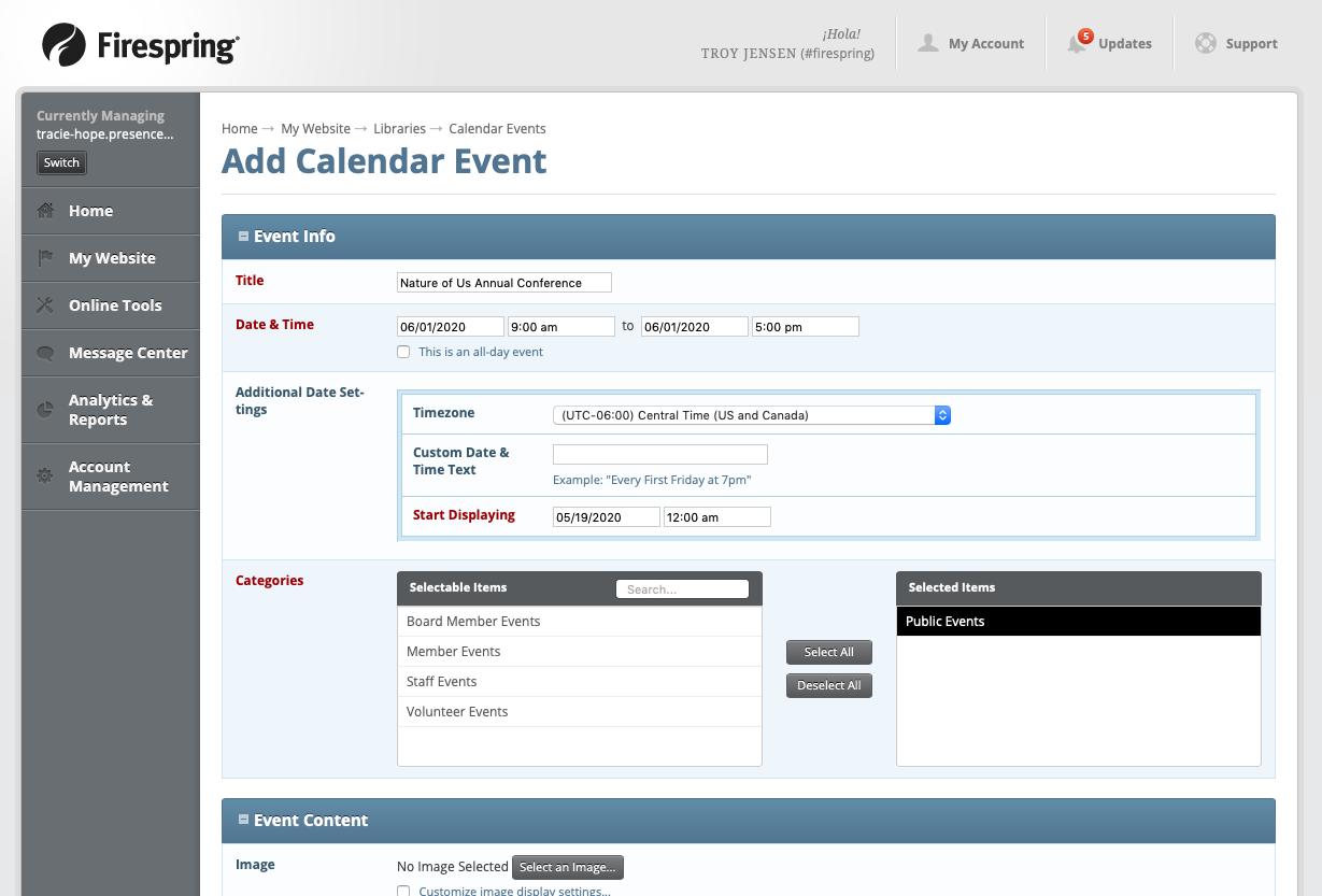 event calendar add event screen