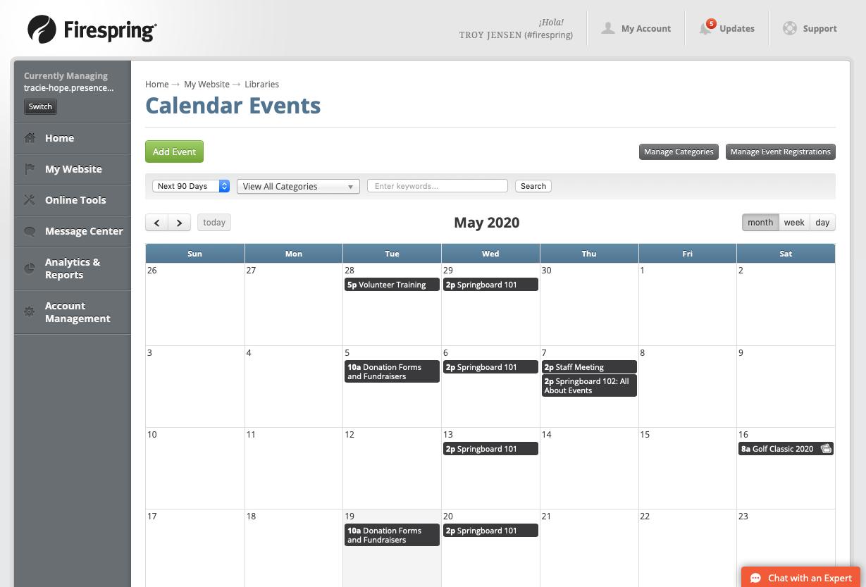 event calendar screen