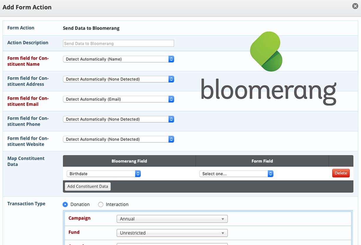 event registration bloomerang integration