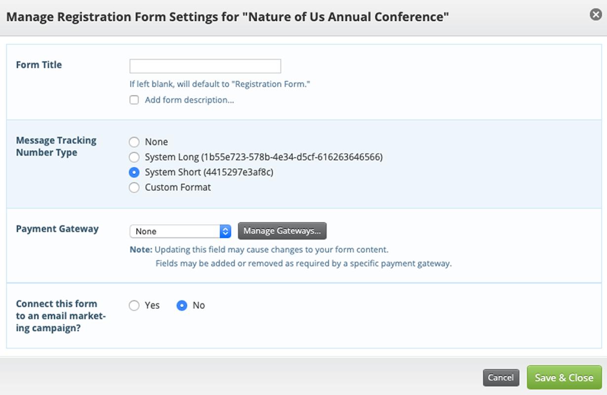 event registration form details screen