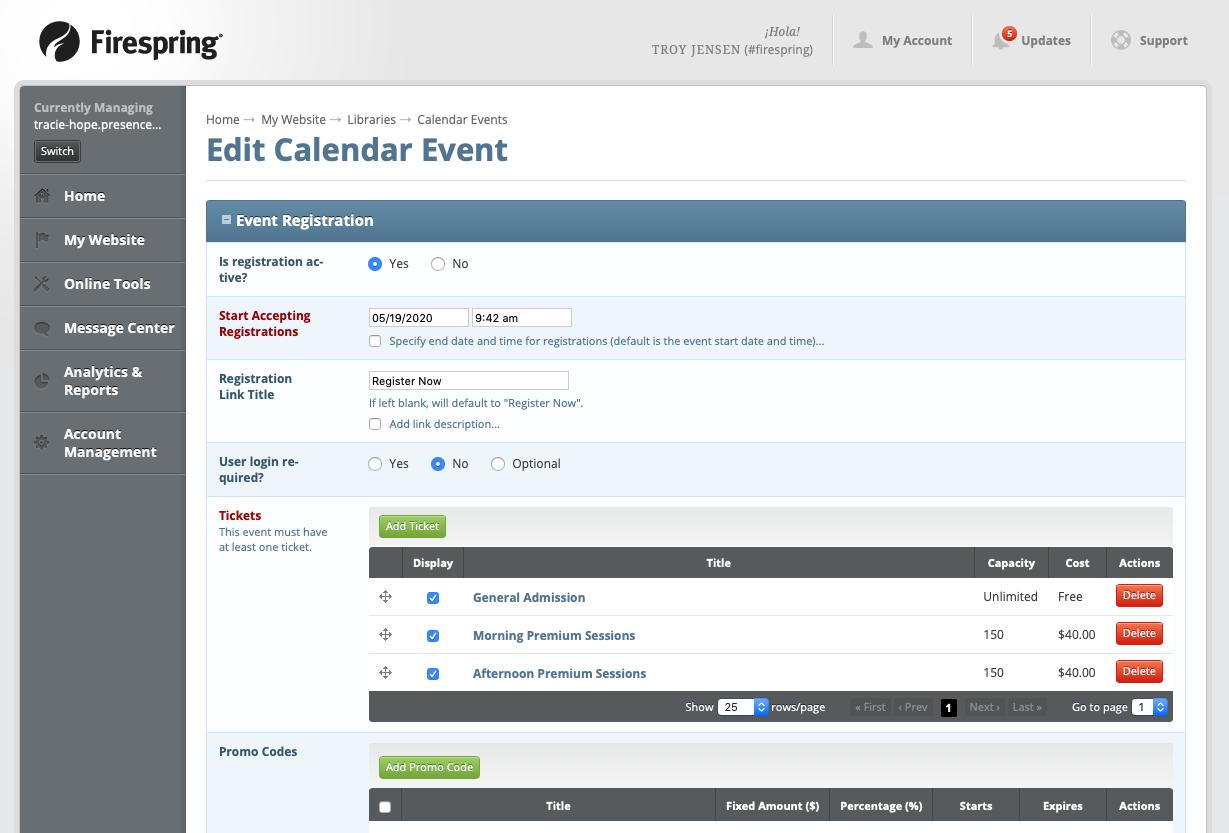 event registration management screen