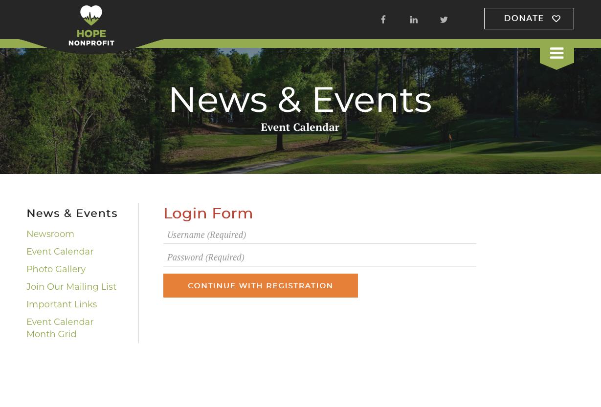 private event registration login