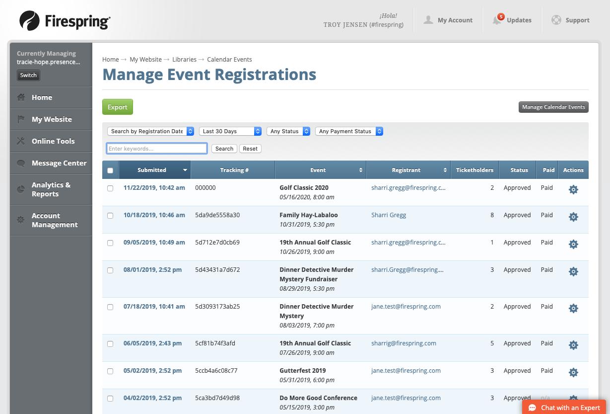 event registration registrants