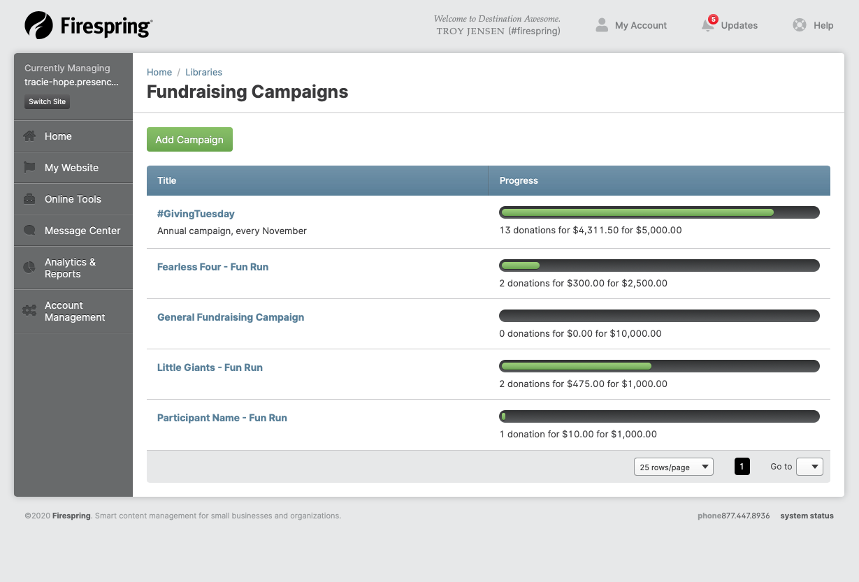 fundraising campaigns springboard screen