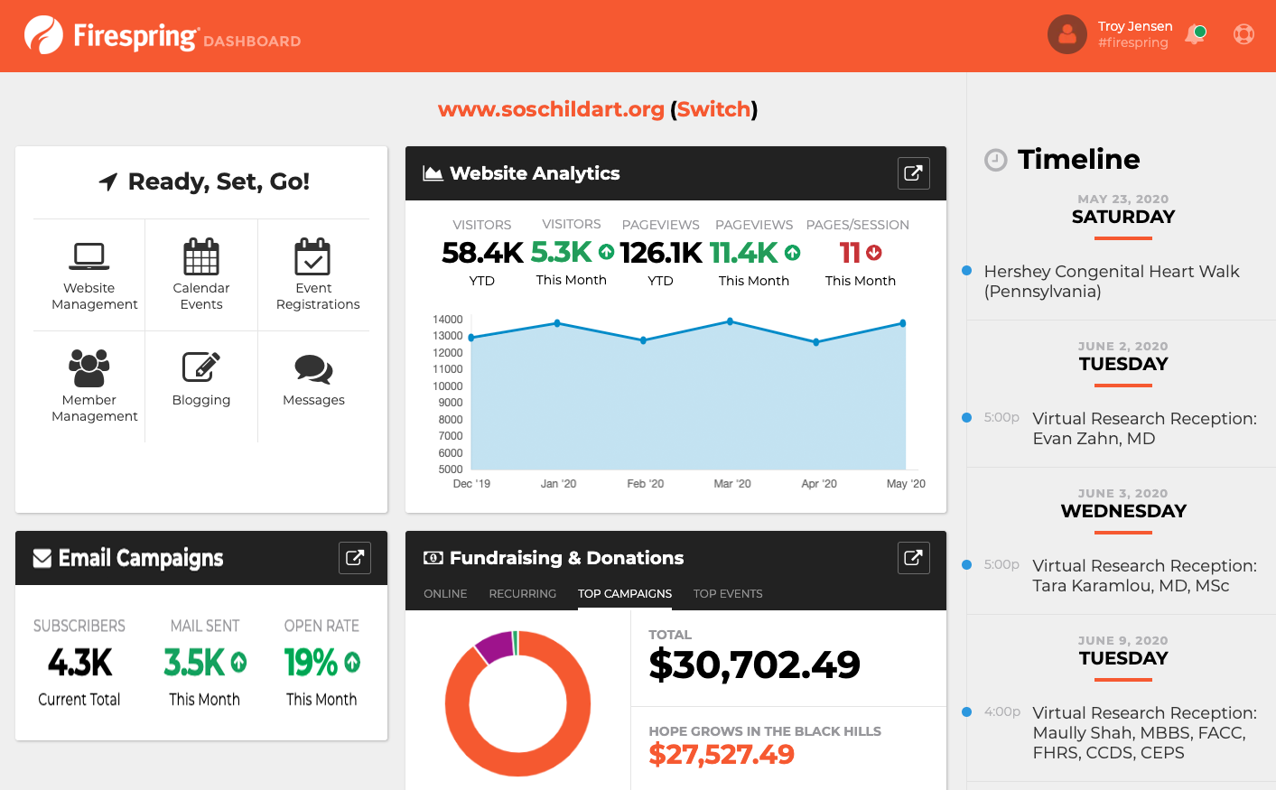 mission management dashboard screenshot