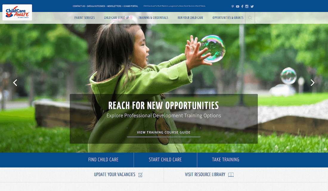 nonprofit custom design Child Care Aware of North Dakota