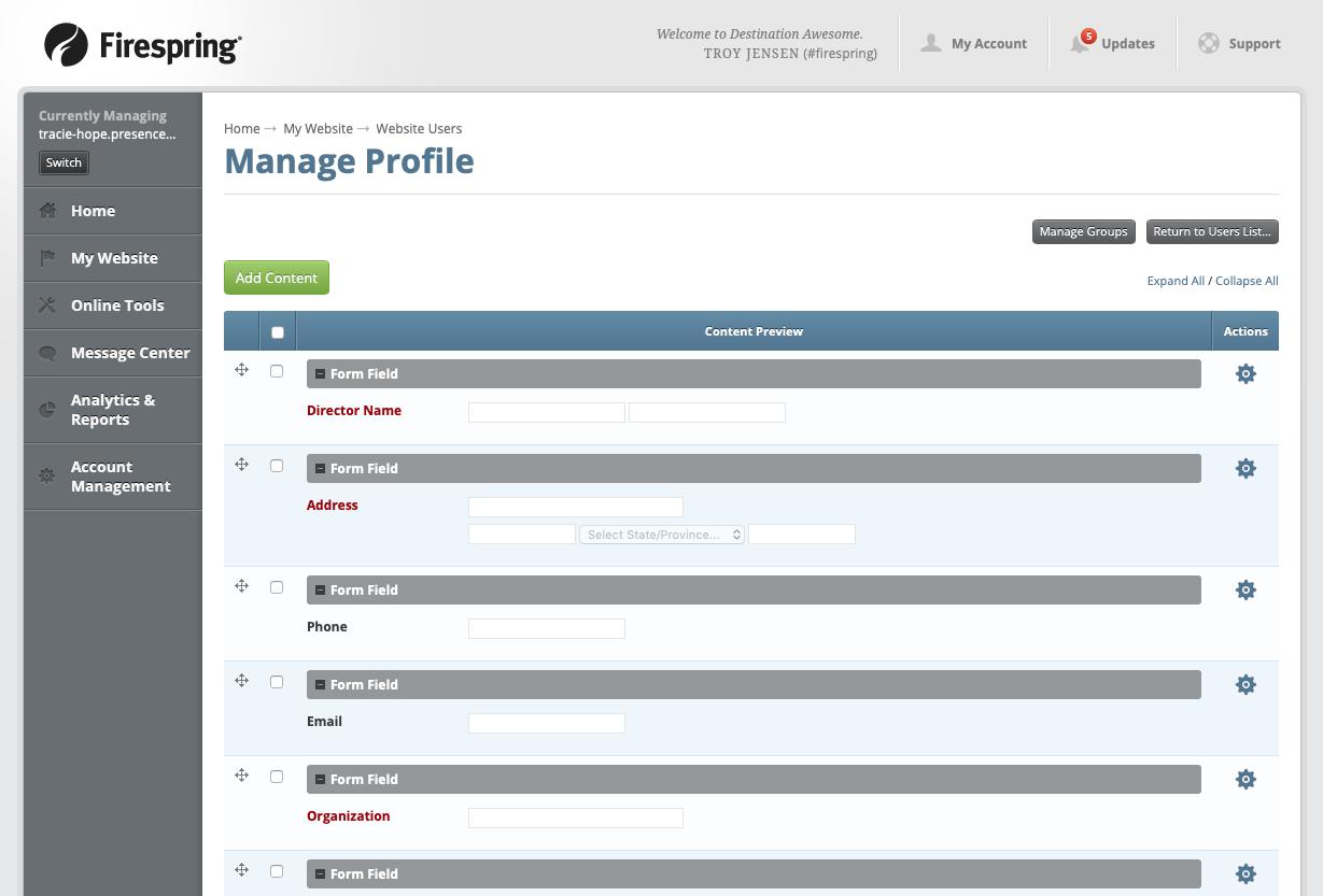 nonprofit board communication user profile