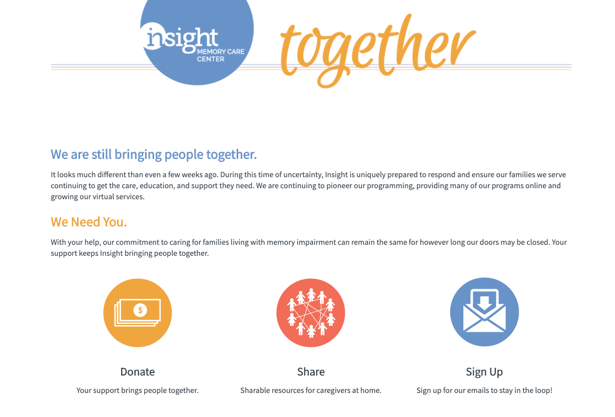 nonprofit branded landing page insight campaign