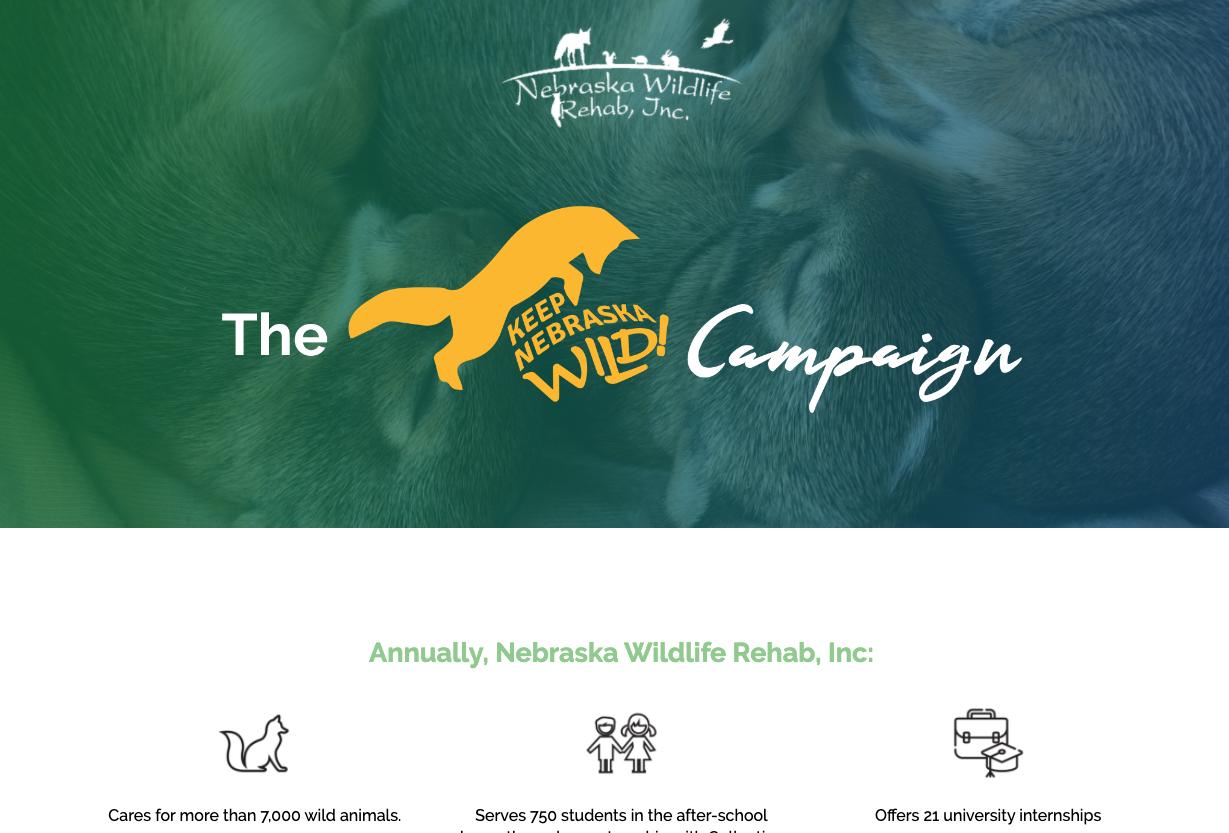 nonprofit branded landing page keep nebraska wild