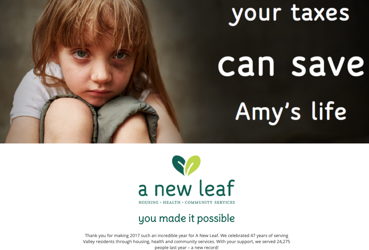 nonprofit branded landing page new leaf campaign