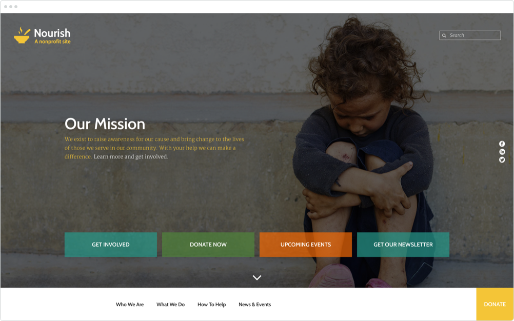 Nonprofit Website Design Nourish