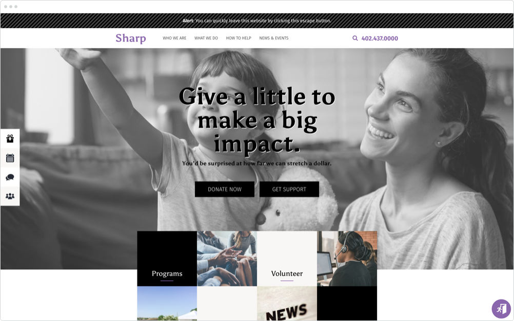 Nonprofit Website Design Sharp