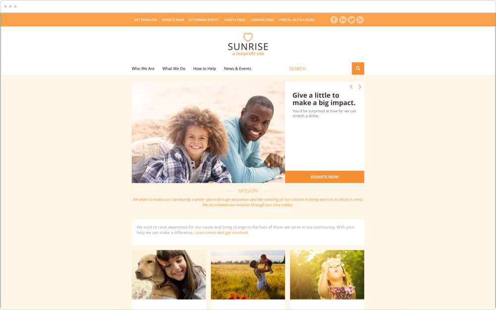 Nonprofit Website Design Sunrise