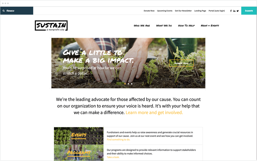 Nonprofit Website Design Sustain