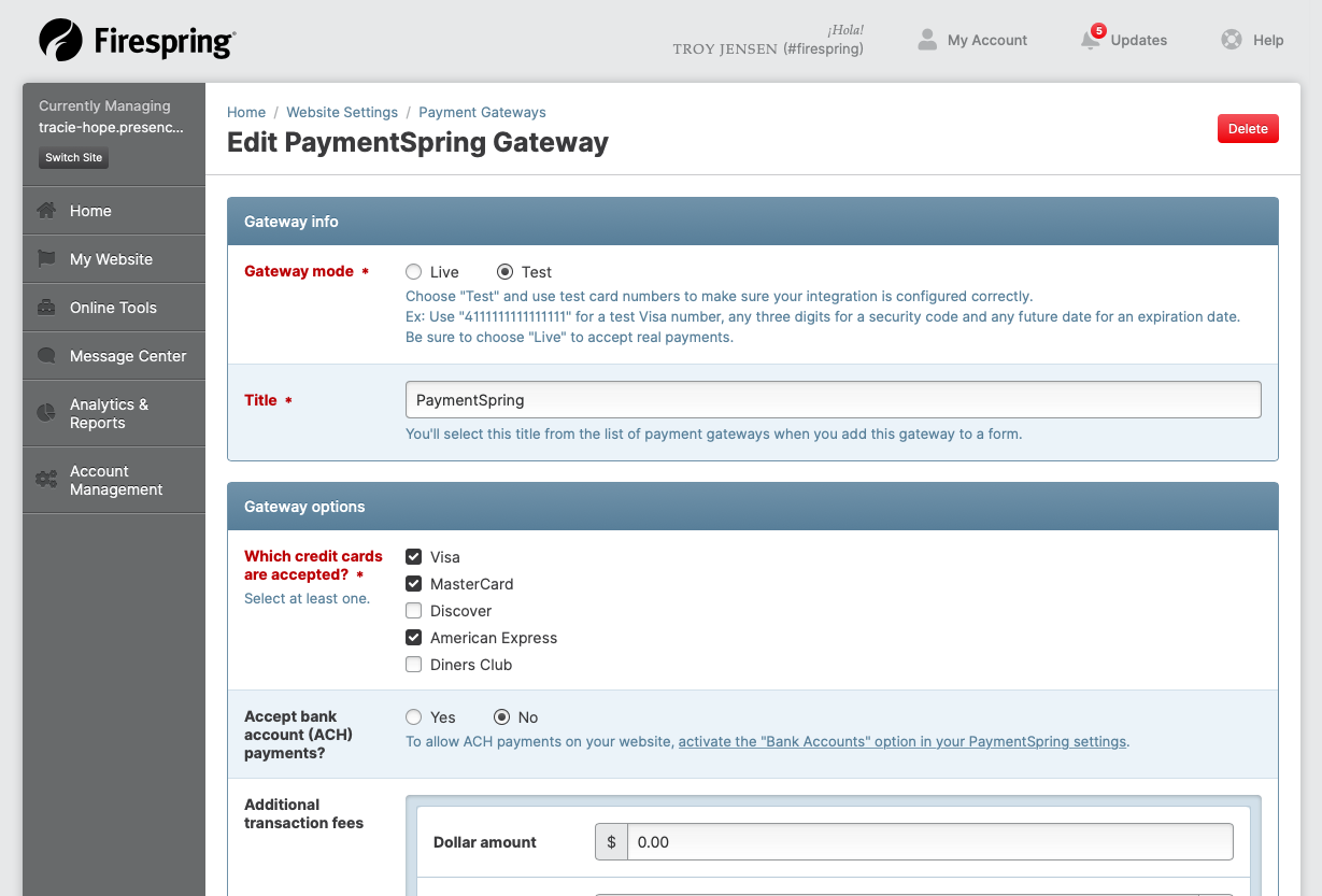 payment gateway edit screen
