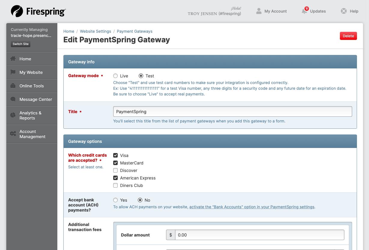 payment gateway edit screen