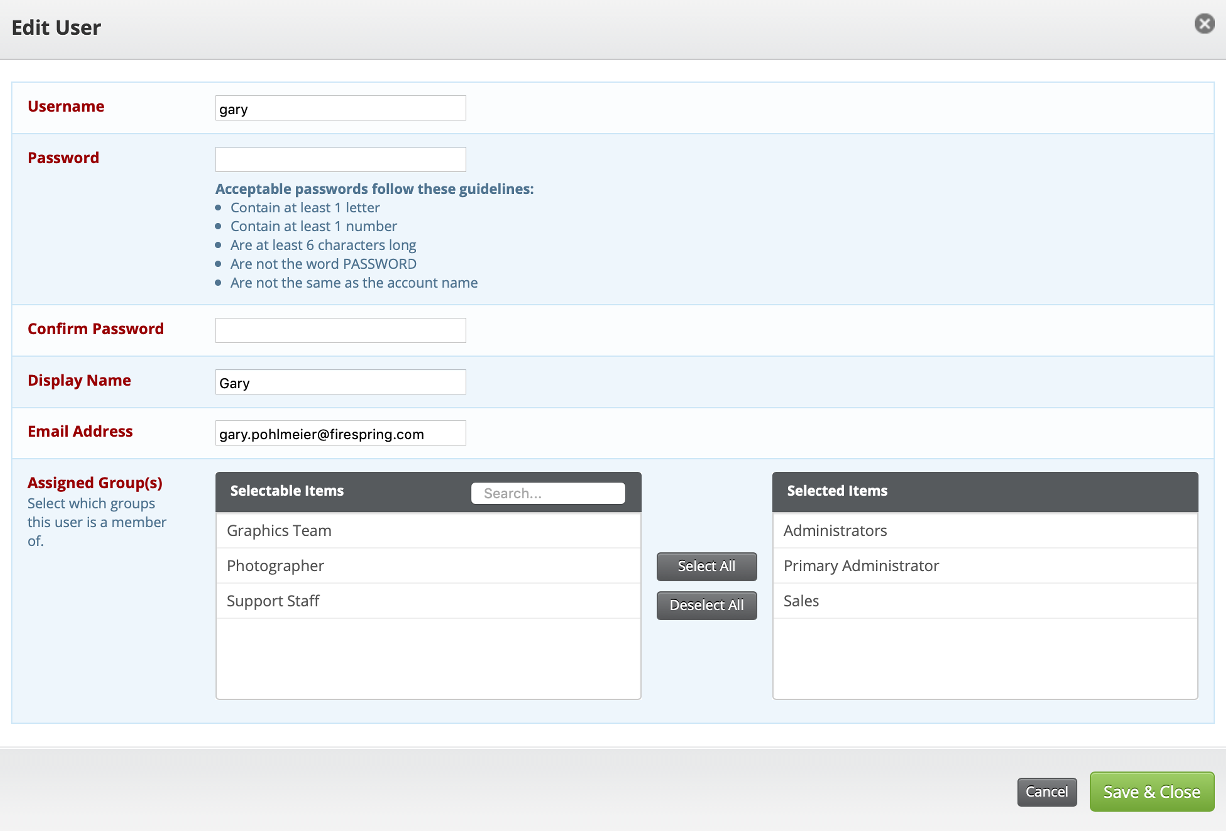 admin access user screen