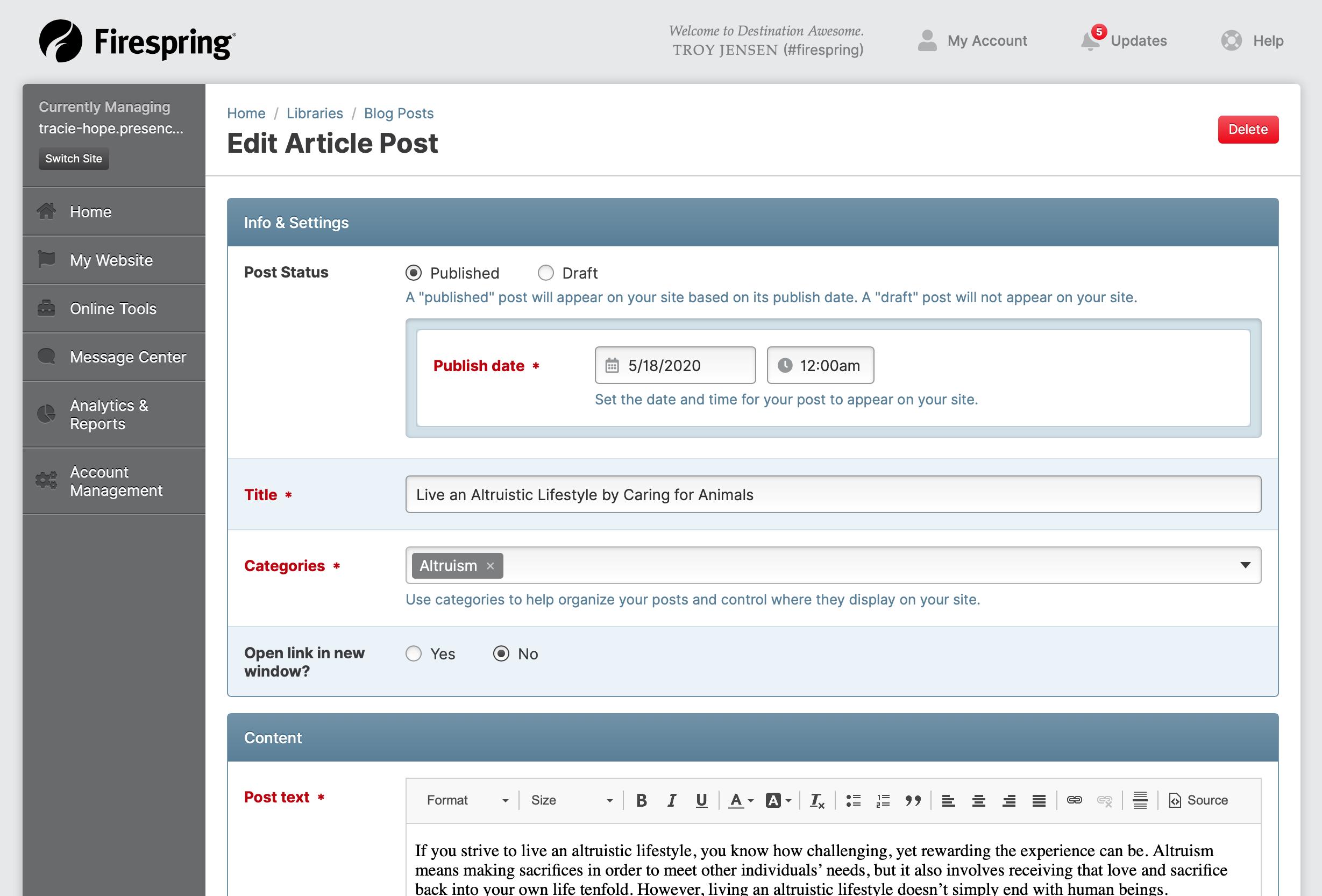 blog article edit screen