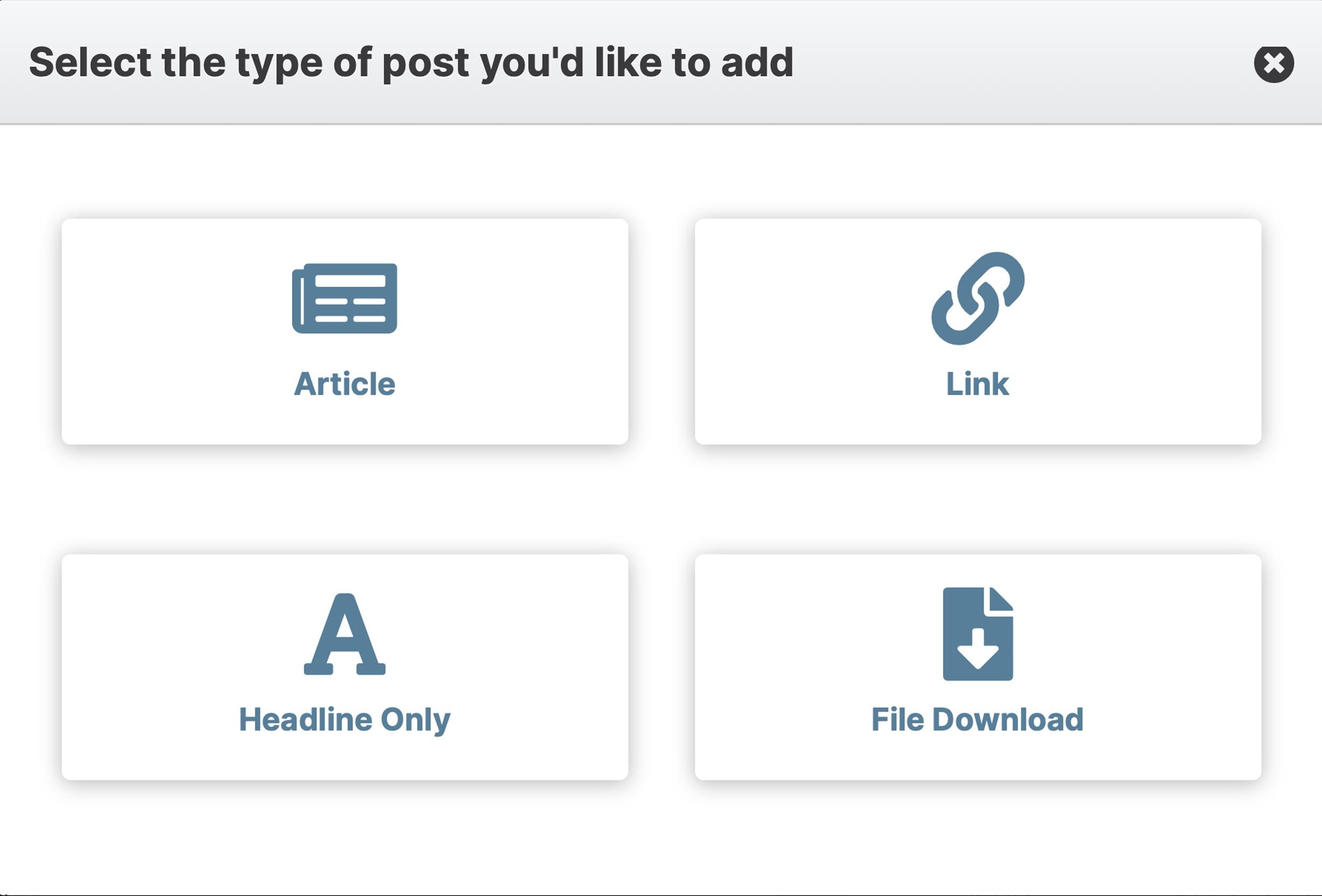 blog add type screen
