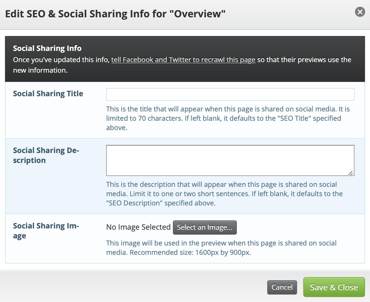 social sharing edit screen