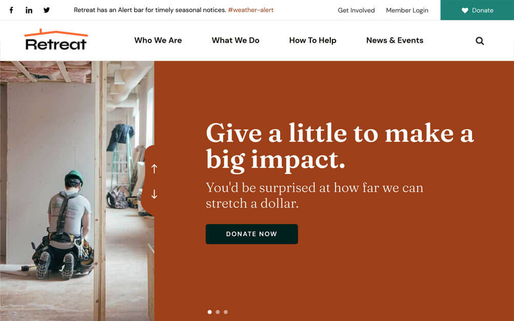nonprofit website design screenshot